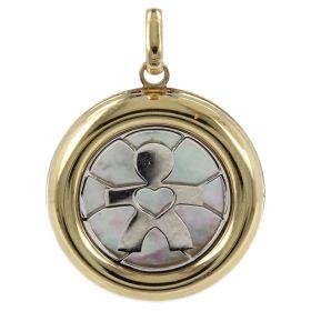 """Boy"" pendant in gold with mother-of-pearl | Gioiello Italiano"