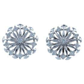 White gold radiated earrings with diamonds | Gioiello Italiano