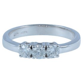 White gold trilogy ring with 0.45ct diamonds | Gioiello Italiano