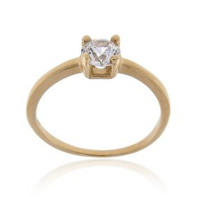 14kt yellow gold solitaire ring with cubic zirconia