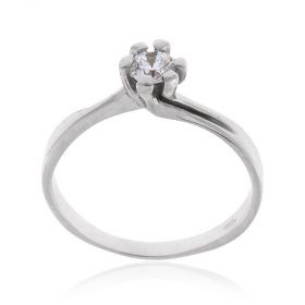 White gold solitaire ring with cubic zirconia stone