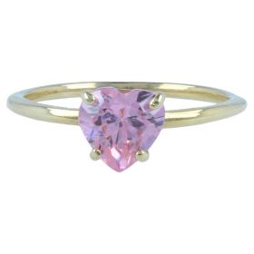 14kt yellow gold ring with pink heart