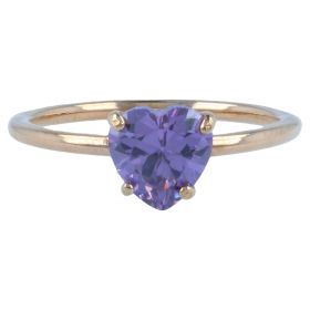 14kt rose gold ring with purple heart