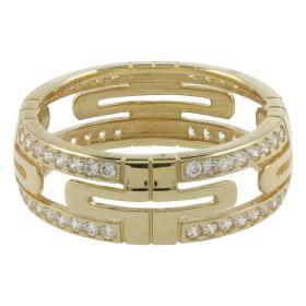 Anello a fascia in oro con zirconi bianchi