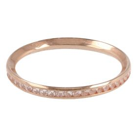 Thin eternity ring in rose gold and zircons