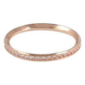 Anello veretta sottile in oro rosa e zirconi