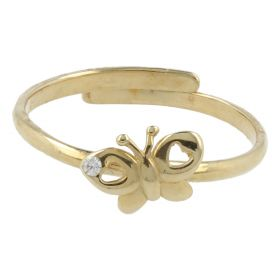 Girl's one size gold butterfly ring