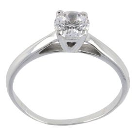 White gold solitaire ring with zircon