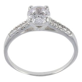 Solitaire ring in white gold with zircons
