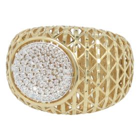 """Faro"" ring in yellow gold with white zircons"