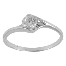 Contrarie solitaire ring in white gold and zircon