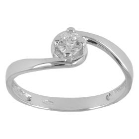 Solitaire ring in 14kt white gold with zircon