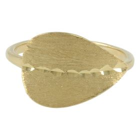 Ring with 14kt yellow gold leaf