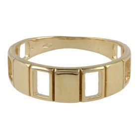 Checkered ring in 14kt yellow gold | Gioiello Italiano