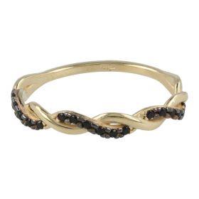 Anello intrecciato in oro giallo con zirconi neri | Gioiello Italiano