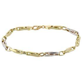 Bracciale segmenti grande in oro giallo e bianco