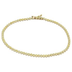 Yellow gold tennis bracelet with green cubic zirconia | Gioiello Italiano