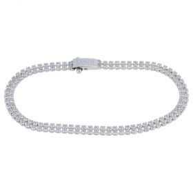 Double white gold tennis bracelet with cubic zirconia