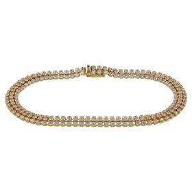 Yellow gold triple tennis bracelet with cubic zirconia