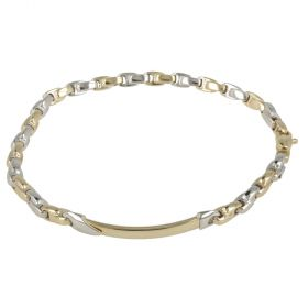 """Element"" men's bracelet in white and yellow gold"