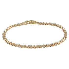 Yellow and white diamond-cut gold bracelet | Gioiello Italiano