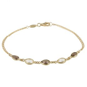 Yellow gold bracelet with smoky and white zircons