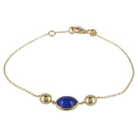 Yellow gold bracelet with lapis lazuli