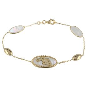 Yellow gold bracelet with flowers and mother-of-pearl
