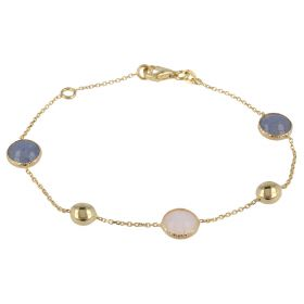 Yellow gold bracelet with pink opal and aventurine