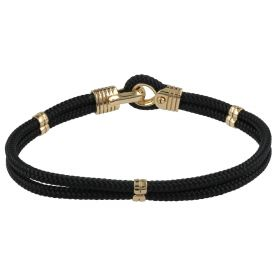 """""""Naval"""" bracelet in yellow gold and black double rope"""