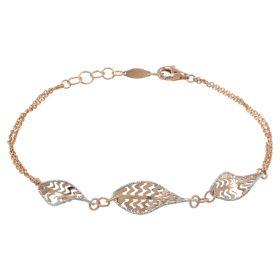 """Fern"" bracelet in rose and white gold"