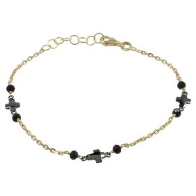 Yellow gold bracelet with burnished crosses and spinel | Gioiello Italiano