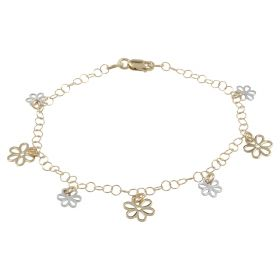 Yellow and white gold bracelet with flowers