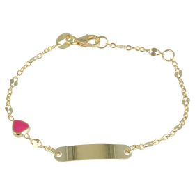 Yellow gold bracelet with pink heart