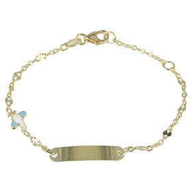 Bracelet in 14kt yellow gold with enameled airplane