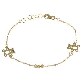 Yellow gold bracelet with teddy bears and beads
