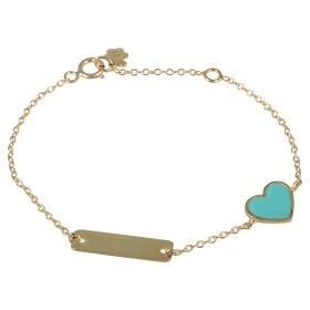 Yellow gold enameled heart bracelet