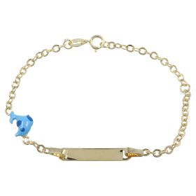 Yellow gold bracelet with nameplate and dolphin
