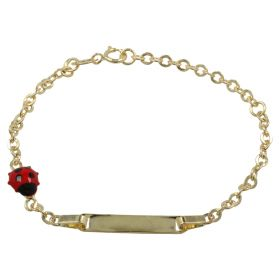 Yellow gold enamelled ladybug bracelet