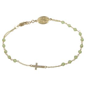 Gold rosary bracelet with green stones and zircons