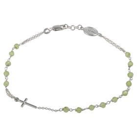 Rosary bracelet in 14kt white gold with green stones