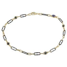 Men's bracelet in yellow gold and black ceramic