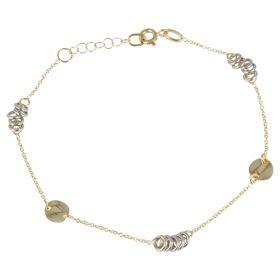 Bracciale in oro giallo con anelli in oro bianco
