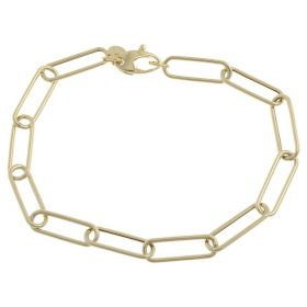 Medium elongated chain bracelet in yellow gold