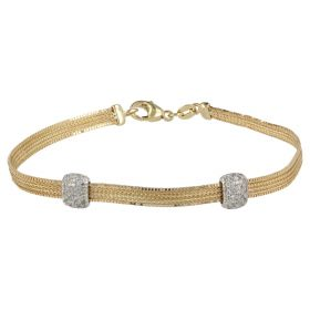 Soft bracelet in yellow and white gold with zircons