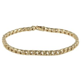 Men's convex curb bracelet in yellow gold 14kt | Gioiello Italiano