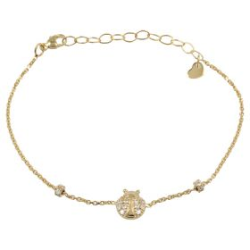 Bracelet with ladybug in yellow gold and white zircons
