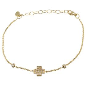 Yellow gold bracelet with cross and paved zircons