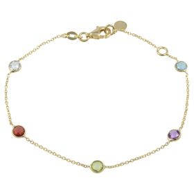 Bracelet in 14kt gold with round coloured natural stones