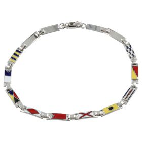 "Men's ""Maritime Flags"" bracelet with white gold plates"